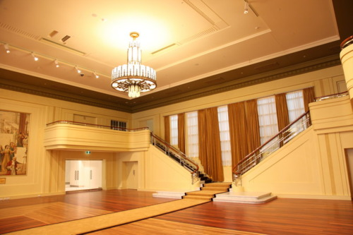 Myer Mural Hall Balcony - Jarrah Handrail by Ryan Woodworks